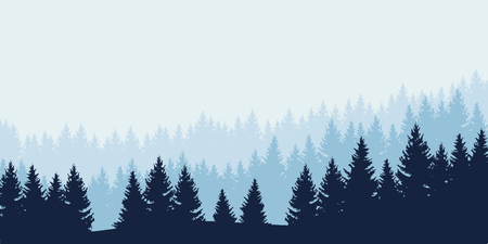 Panoramic view of landscape with blue forest under cloudy sky - vector