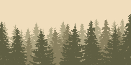 Close-up of a vector illustration of forest tree tops in the style of old photo isolated