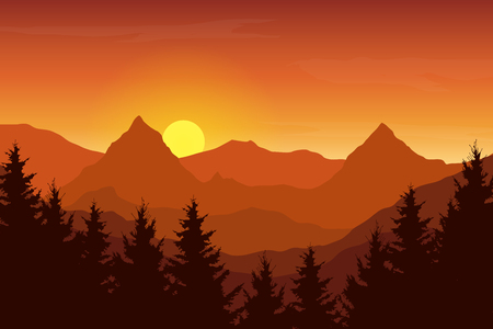 Vector illustration of an autumn orange mountain landscape under a sunrise sky with clouds Vectores