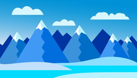 Vektorov� ilustrace zimn� horsk� krajiny s jezerem a sn?hem pod chladnou modrou oblohou s mraky Ilustrace