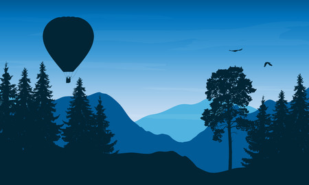 high sierra: Vector illustration of a mountain landscape with a flying hot air balloon with people in a basket and birds under a blue sky with clouds