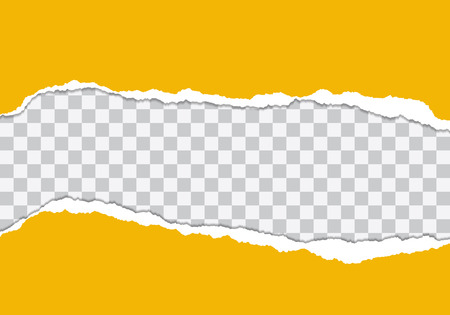 Vector illustration of torn yellow paper with transparent background isolated on white background suitable for text insertion. Illustration