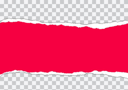 Vector illustration of torn red paper with transparent background isolated on white background suitable for text insertion