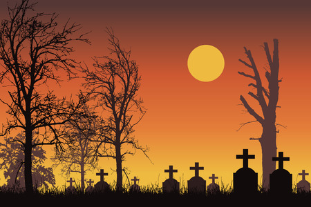 Vector realistic illustration of a haunted cemetery with tombstones, cross and trees without leaves under a dramatic orange sky with moon or sun