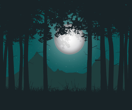 ghostly: Vector realistic illustration of a haunting forest with grass under a green night sky with moon and stars Illustration