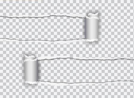 Définir une illustration réaliste de vecteur de papier déchiré transparent avec bord roulé sur fond transparent avec cadre pour texte Banque d'images - 85502679