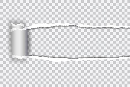 Définir une illustration réaliste de vecteur de papier déchiré transparent avec bord roulé sur fond transparent avec cadre pour texte Vecteurs