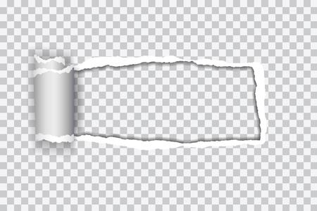 Définir une illustration réaliste de vecteur de papier déchiré transparent avec bord roulé sur fond transparent avec cadre pour texte