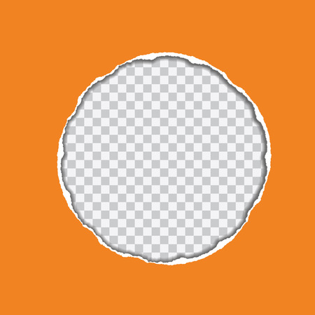 vector realistic illustration of orange torn paper with shadow and circular shaped hole on transparent background with frame for text Illustration