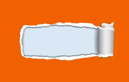 テキストのフレームと青の背景に圧延のエッジとオレンジの破れた紙のベクトル現実的なイラスト