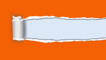 vector realistic illustration of orange torn paper with rolled edge on blue background with frame for text Illustration