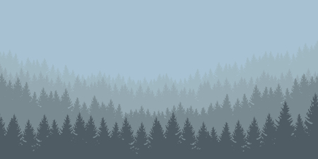 panoramic vector illustration of a forest under a overcast gray sky, layered Vectores