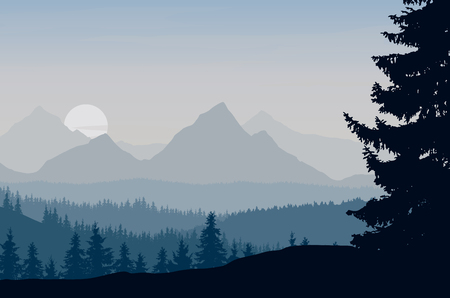 park: Vector illustration of a mountain landscape with forest under the morning blue-gray sky with rising sun and clouds Illustration
