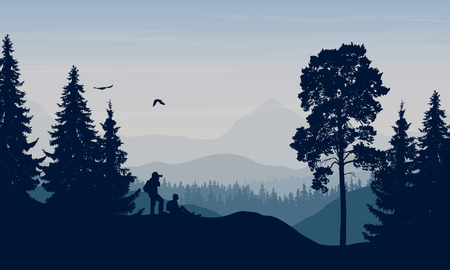 Vector illustration of a mountain landscape with trees and a human being photographed under a blue-gray sky with cloud and space for text