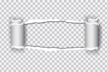 Realistisches transparentes zerrissenes Papier mit aufgerolltem Rand