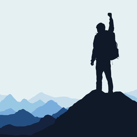 Vector illustration of a mountain landscape with a realistic silhouette of a climber at the top of a rock with a winning gesture under a blue sky