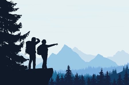 Mountain landscape with a forest and two tourists