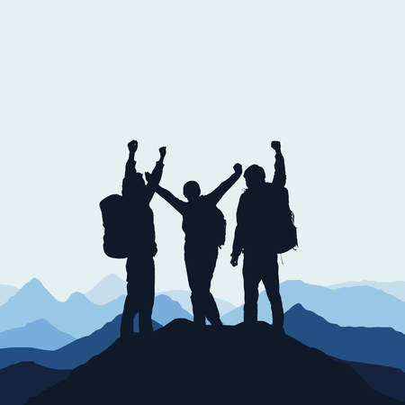 Illustration of a mountain landscape with realistic silhouettes of three mountain climbers on the top of a mountain with victorious gesture under an blue sky with fog.