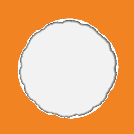 vector realistic illustration of orange torn paper with shadow and circular shaped hole on blue background with frame for text