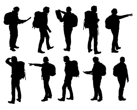 Set of realistic silhouettes of man and woman standing, walking and showing hand and map and backpack in different poses.
