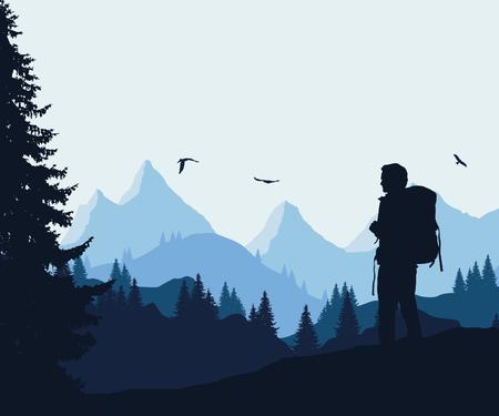 Vector la ilustración de un paisaje de montaña con un bosque y pájaros que vuelan y un turista debajo de un cielo azul-gris Foto de archivo - 89282276