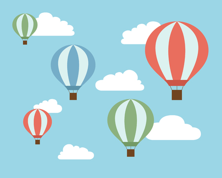 drift: Flat design illustration of colorful flying hot air balloons on blue sky with white clouds - vector