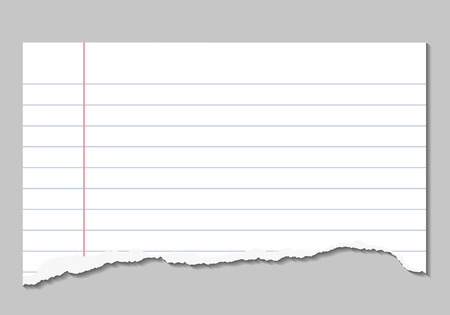 Vector realistic illustrations of torn page of notebook lined paper with shadows