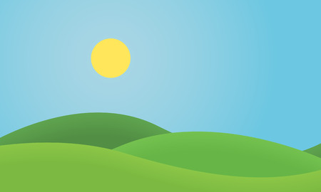 Flat design grass landscape with hills and glowing sun under blue sky