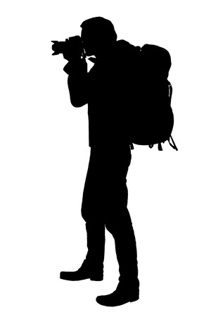 A Vector realistic silhouette of a standing photographer with a backpack on the back, isolated on a white background