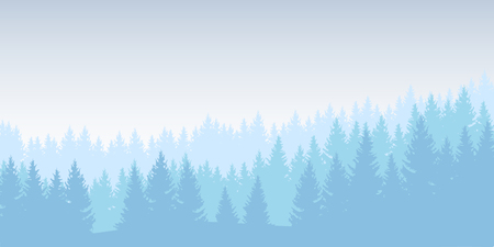 Vector illustration of a winter forest in several layers under a bright blue sky