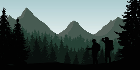 Vector illustration of a mountain landscape with a forest and two tourists looking for a path under a clear sky