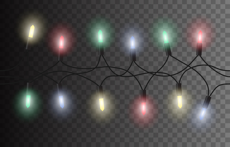 vector vector seamless christmas light set garland isolated on transparent background