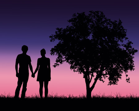 Realistic illustration of a silhouette of a loved man and woman on a romantic stroll through a landscape with trees under a blue sky with dawn - vector
