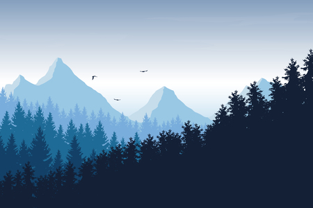 Vector illustration of mountain landscape with forest under blue sky with clouds and flying birds, with space for text Vectores