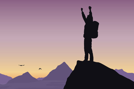 Vector illustration of a mountain landscape with a tourist on top of rock celebrating success with raised hands Vectores