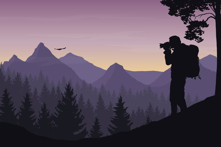 A tourist photographing a flying bird in a mountain landscape with forest under a morning sky with dawn and clouds - vector.