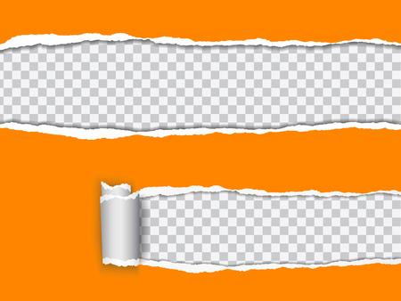 Metta l'illustrazione realistica di vettore di carta lacerata arancio con il bordo rotolato su fondo trasparente con la struttura per testo. Vettoriali