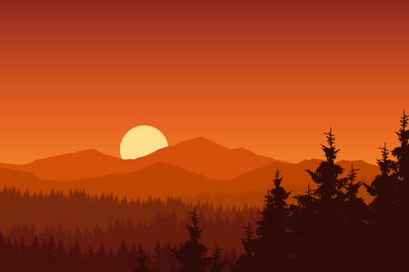 Vector illustration of mountain landscape with forest under orange sky with rising sun Иллюстрация