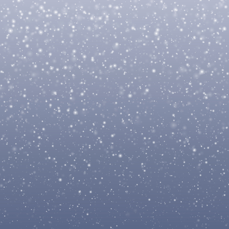 Falling transparent snowflakes with blue-gray sky, changeable background - vector illustration.
