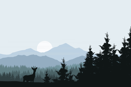 Realistic vector illustration of mountain landscape with forest and deer
