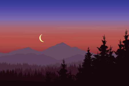 A Vector illustration of mountain landscape with forest under blue-pink sky with crescent Illustration