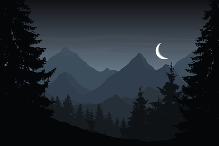 Vector illustration of mountain landscape with forest under cloudy night sky with crescent Stock Illustratie