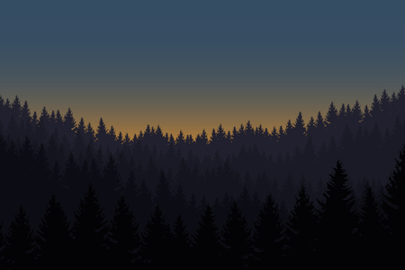 Vector illustration of a landscape with a forest under the morning sky with the rising sun