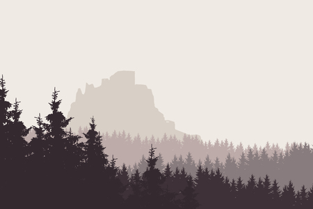 Vector illustration of a landscape with a forest and a ruin of a medieval castle