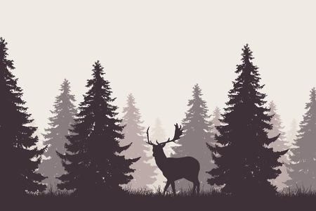 Ein Retro- Nadelwald mit einem Schattenbild eines Bracherotwilds -
