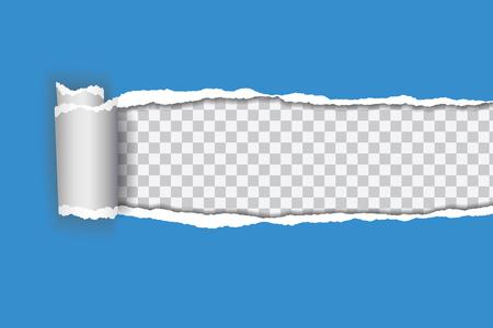 Vector realistische Illustration des blauen heftigen Papiers mit gerolltem Rand auf transparentem Hintergrund mit Rahmen für Text