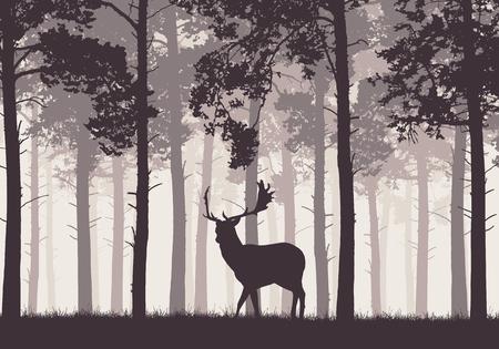 Ein Retro- Nadelwald mit einem Schattenbild eines Bracherotwilds - Vektorgrafik