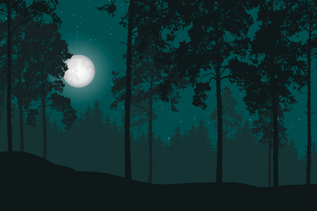 Vector illustration of a night landscape with forest, moon and stars