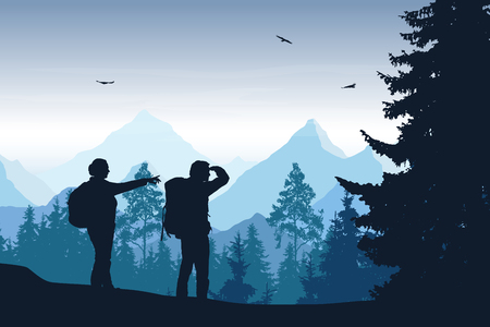 Vector illustration of mountain landscape with forest and two tourists under blue sky with clouds and flying birds Illustration