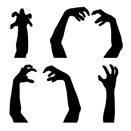 Set of vector silhouettes of scary hands suitable for Halloween, isolated on white background Stock Vector - 95635763